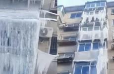 辽宁沈阳铁西小区楼顶漏水一夜整栋楼成冰瀑布